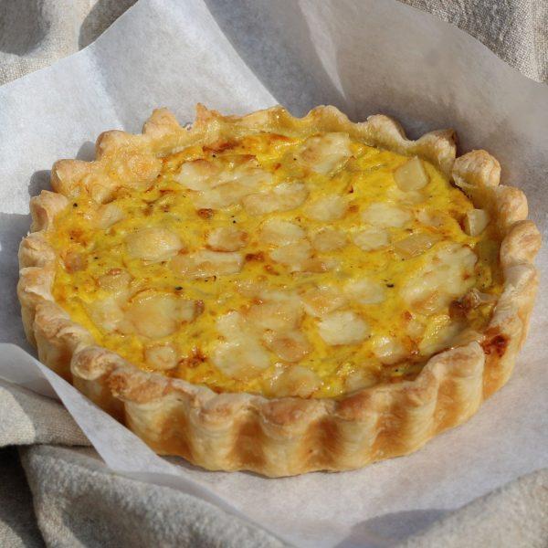 Gruyere, saffron and onion pie